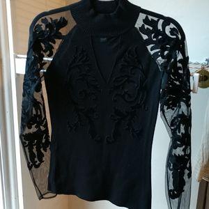 Black INC top with see thru sleeves